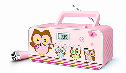 Muse M-29KP CD-Radio für Kinder mit Mikrofon und Sing-A-Long Karaoke Funktion (CD / MP3, USB, AUX-In, LCD-Display, Teleskopantenne), Pink mit Eulenmotiven