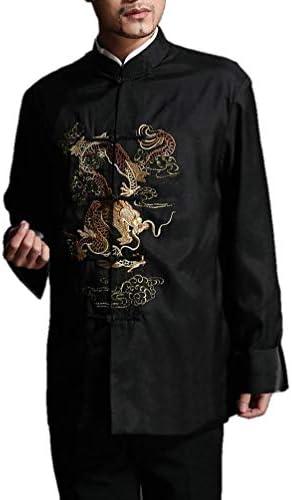 Chaqueta de Kung Fu para Hombre de Color Rojo Camisa Acolchada de Dragón - 100% de Seda #104