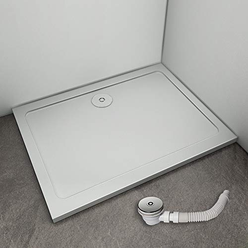 Receveur de douche 80x70cm avec bonde de douche estra plat rectangulaire bac à douche