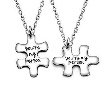 AGR8T 2pcs You re My Person Puzzle Valentine Pendant Necklace Jewelry Set Stainless Steel