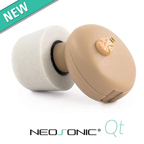 Neosonic Qt Hearing Amplifier to Aid and Assist Hearing - Digital ITE CIC Sound Amplifier with Comfortable Memory Foam Domes - Fit Either Ears