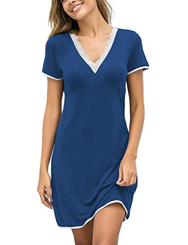 Ekouaer Night Gown Dresses for Women Tshirt Nightgowns Soft Sexy Night Shirt for Sleeping Ladies Sleepwear Plus Size Blue XXL