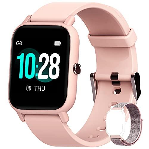 Blackview Smartwatch Donna,Orologio Fitness con Contapassi Saturimetro (SpO2) Sonno Cardiofrequenzimetro da Polso, Activity Tracker Sport Impermeabile 5ATM per Android iOS (2 Cinturini)