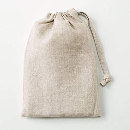 無印良品麻平織肩クロスエプロン生成身丈約90cm・巾着付82247633