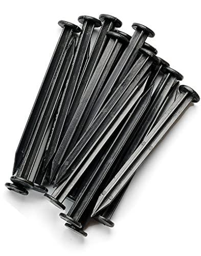 WDB Lot de 40 clous en plastique de 18 cm pour bordure de gazon flexible et bordure de pavage - Clous de fixation en plastique - Noir - RAL 9005