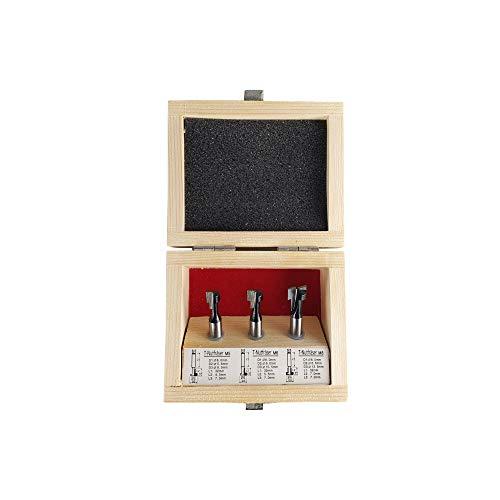 STIER T-Nutfräser-Set 3-teilig M5 M6 und M8 Schrauben, 8 mm Schaft, für Oberfräsen, T Nut Fräser, T Nutfräser