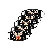 TianWlio 5 Stück Weihnachten Nikolaus Mundschutz Bunt mit Weihnachtsbaum Schneeflocke Motiv Mundschutz Waschbar Verstellbar Unisex Wiederverwendbar Atmungsaktiv Mund und Nasenschutz