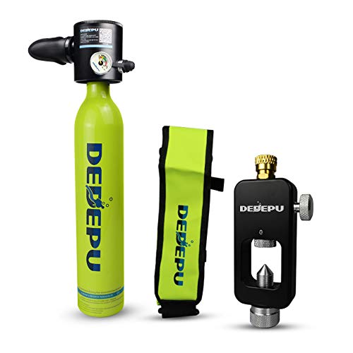 DEDEPU Mini Scuba Dive Cylinder Snorkeling Tank Portable Diving Equipment S3000-Package A 0.5L Inflatable Diving Cylinder Pony Bottle for Emergency Backup with Refilling Adapter (Green)