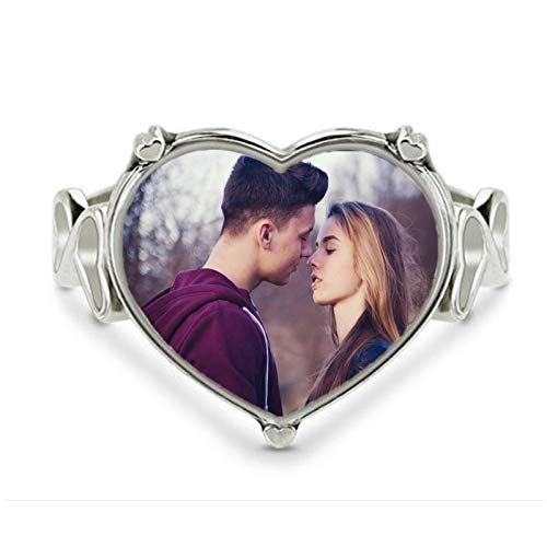 bishixiangenbaihuo Personalized Ring Customized Photo Ring Silver Ring Heart Ring Christmas Valentine's Day Birthday Anniversary Personalized Gift(Silver 10.5)