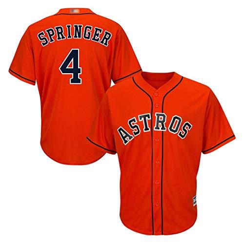 Springer Baseball Shirt, Mets in Springer, Aber sie sind Nicht allein, Astros Herren Kurzarm Game Team Uniform Button Top (M-XXXL)-orange-XXXL