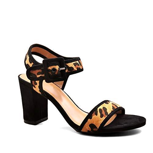 Angkorly - Damen Schuhe Sandalen - Schick - BCBG - glamourös - String Tanga - große Schnalle - Wildleder Blockabsatz high Heel 8.5 cm - Leopard M560 T 38