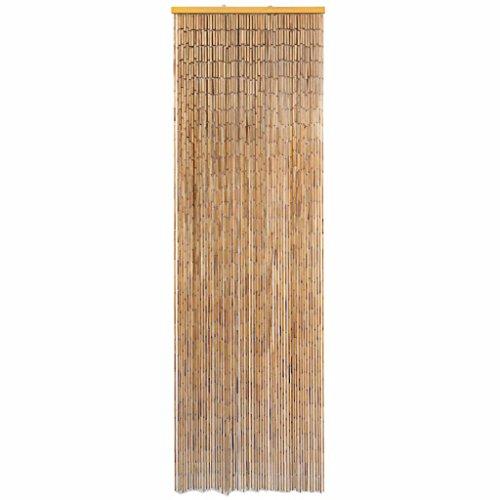 Tidyard Insektenschutz Türvorhang Fliegenschutz Dekovorhang Bambusvorhang Raumteiler Faden Vorhang Deko für Balkontür Bambus 56 x 185 cm