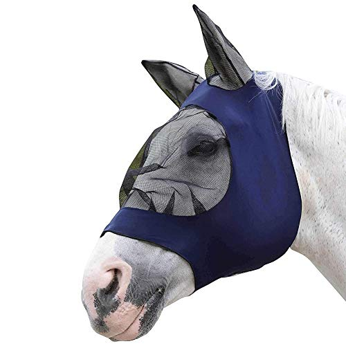 Horse Insect Fine Breathable Mesh Anti Mosquito Horse Fly Mask Horse Nose Cover with Ears Armour Shield Fly Protector