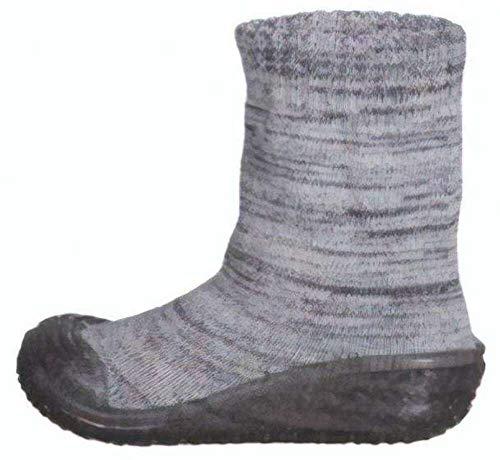 Playshoes Jungen Unisex Kinder Socke gestrickt Hohe Hausschuhe, Grau (Grau 33), 20/21 EU