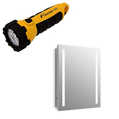 Toucan City LED Flashlight and KOHLER Verdera 24 in. W x 30 in. H Surface-Mount Lighted Medicine Cabinet K-99007-TLC-NA