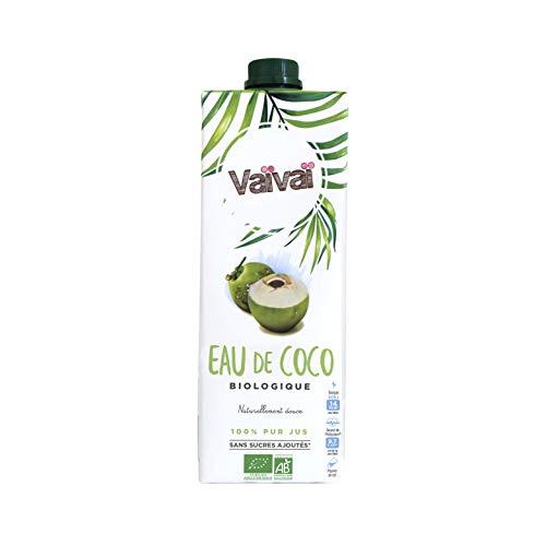 Vaïvaï - Eau de Coco Bio - 100% Pur Jus - Douce et Rafraîchissante - Sans Sucres Ajoutés - 1 Brique Tetra Pak d'1L