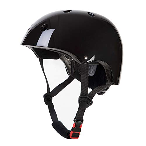 OUWOR Kids Skateboard Helmet for Boy and Girl, CPSC Certified Lightweight Adjustable, Multi-Sport for Cycling Skating Scooter (Glossy Black, Small)