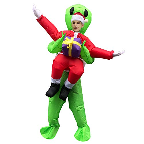 SAISAI Weihnachtsmann Aufblasbares Kostüm Erwachsene Lustiges Partykostüm Cosplay Christmas Halloween Karneval Fancy Dress Party Outfit Garten Neuheit Spielzeug, 160-190cm