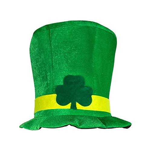 BESTOYARD Disfraz Leprechaun Gorros de Fiesta San Patricio Sombrero del Día de San Patricio Sombrero de Copa de Trébol Irlandés Verde