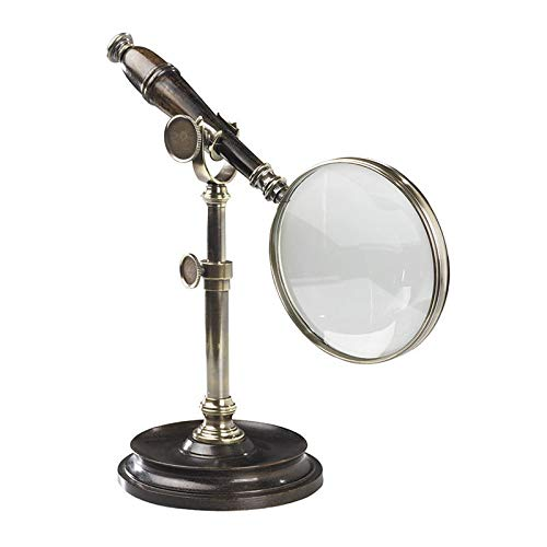 Authentic Models, Magnifying Glass with Stand, Classic Vintage Home Office Decor, Duotone Bronzed Brass & Wood - 9.8