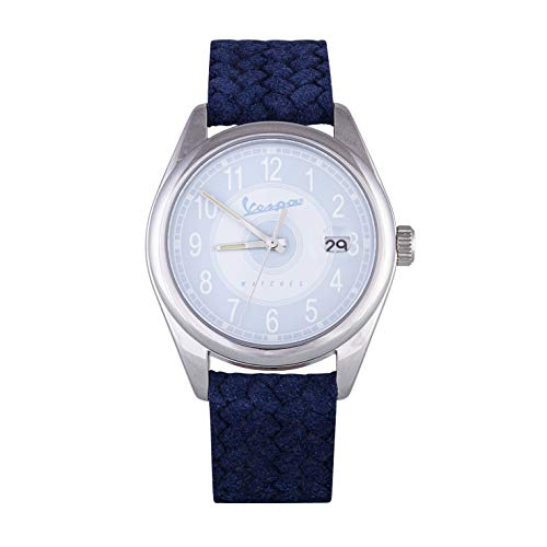 Vespa Watches Orologio da Polso da Uomo Analogico con Movimento al Quarzo Quadrante Azzurro e Cinturino In Pelle Intrecciata Blu 100% MADE IN ITALY Modello VA-HE03-SS-04BL-CP