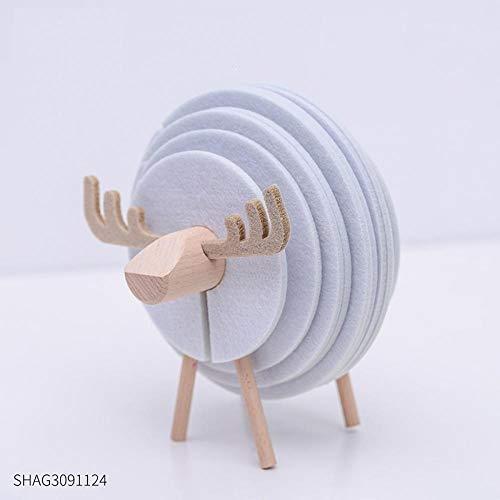 hacpigbb Schafstatue Tasse Matte Teetasse Isolierfilz Tasse Matte Kreative Saugfähige rutschfeste Tischmatte Praktische Ornamente - Weiß 2