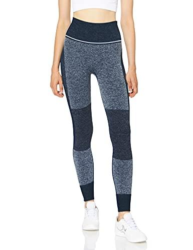 Marca Amazon - AURIQUE Mallas de Deporte sin Costuras de Tiro Alto Mujer, Azul (Dress Blue), 40, Label:M