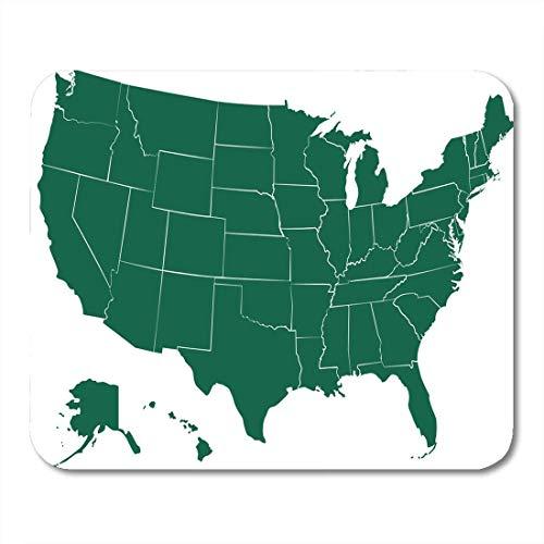 Mau Mat,Amerika Mittlerer Westen Usa Staaten Karte Weiß Alaska Amerikanische Grenze Glatte Waschbare Anti-Rutsch-Gaming-Mousepads,22cmx18cm