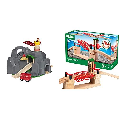 Brio World - 33889 Crane & Mountain Tunnel | 7 Piece Toy Train Accessory for Kids Ages 3 and Up,Multi & 33757 Lifting Bridge | Toy Train Accessory with Wooden Track for Kids Age 3 and Up