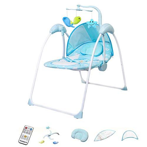 Bebé eléctrico Bebe Bourning Bootcer, conexión inalámbrica Bluetooth y incorporado 12 S, silla de asiento para niños pequeños Rocker con cojín transpirable y mosquitera extraíble y 3 juguetes de peluc