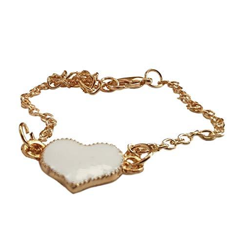 Wortek Armband met hart verzilverde ketting armband subtiele sieraden diameter 52 mm modesieraad unisex armband voor dames en heren met hart accessoire voor elke gelegenheid in de kleur goud