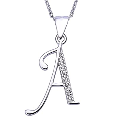 VIKI LYNN Letter A Initial Necklace 925 Sterling Silver Cubic Zirconia Alphabet Personalized Gifts for Women