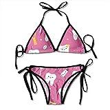 Bikini De 2 Piezas Dental Dentist 2 Piezas Bikini Set Verano Ajustable Cómodo Trajes De Baño Regalo De Cumpleaños Moda Divertida Trajes De Baño Únicos con Almohadilla para El Pech
