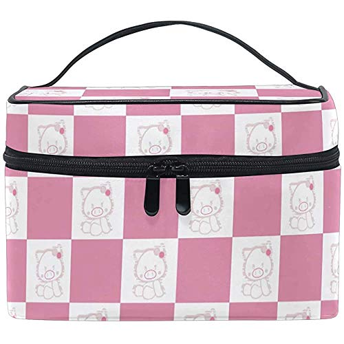 Trousse de Maquillage Plaid Pink Pig Travel Cosmetic Bags Organizer Train Case Toiletry Make Up Pouch