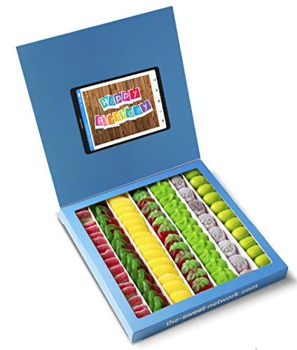 Caja golosinas Twitter 23x23cm con mensaje HAPPY BIRTHDAY, su interior contiene 750g de golosinas Fruit