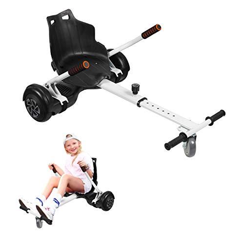 Hoverkart, Kart Ajustable para Scooters eléctricos de autoequilibrio, Asientos de Hoverboard, Karts compatibles con Todos los Scooters-6.5 / 8.5 / 10 Pulgadas, Regalos para niños y Adultos(Blanco)