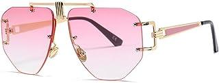 QWKLNRA - Gafas De Sol para Hombre Montura De Color Dorado Lente Rosa Gafas De Sol Sin Montura Hombres Gafas De Sol Monturas De Gran Tamaño Aleación Irregular Mujer Única Gafas Uv400 Ciclismo Viaje