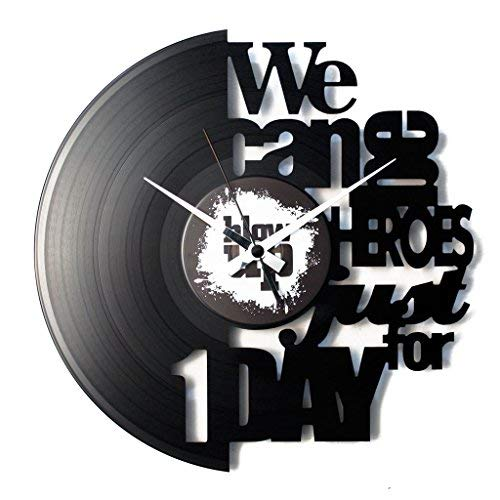 Disc'O'Clock Orologio in Vinile da Parete Lp 33 Giri Silenzioso Heroes - Idea Regalo A Tema David Bowie, Musica