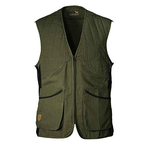 K&S Outdoors - Chaleco de tiro para hombre, diseño de rombos, para protección izquierda y derecha, de algodón verde oliva XXL