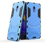 tinyue® Handyhülle für Meizu M6S, Hülle 2 in 1 Material Harte Schwer doppelte kratzfester Handyfall im Freienhandyfall Iron Man Rüstung mit Kickstand Hülle, Blau