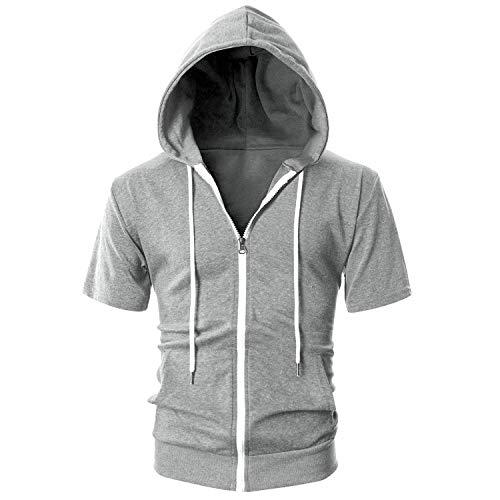 semen Herren Pullover Kurzarm Kapuzen Open Reißverschluss Sweatjacke Fitness Slim Fit Einfarbig Sport Kapuzenpullover Outwear