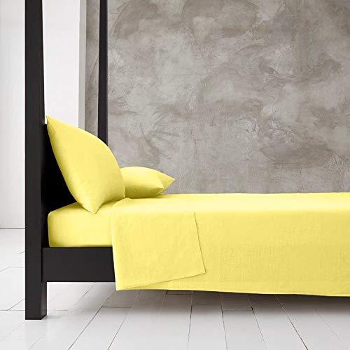 Sábana Lisa amarilla para cama de matrimonio