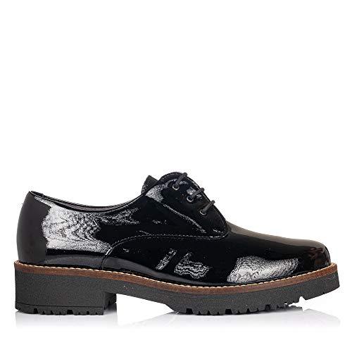 PITILLOS 5790 Zapato Cordones Charol Mujer Negro 36
