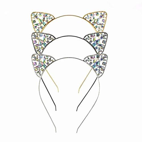 LHKJ 3 pcs Orejas de Gato Diademas Nias Diademas Metlicas Orejas de Gato de Diamante Cristal de Imitacin, Gato Banda Pelo Negro Oro Plata Disfraz Cosplay Party Accesorios