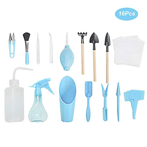 ZARQ Mini-Gartengeräte-Set, 16 Stück Gartenwerkzeuge Sukkulente Transplantationswerkzeuge Bonsai Tree Kit Garten-Miniatur-Pflanzwerkzeuge