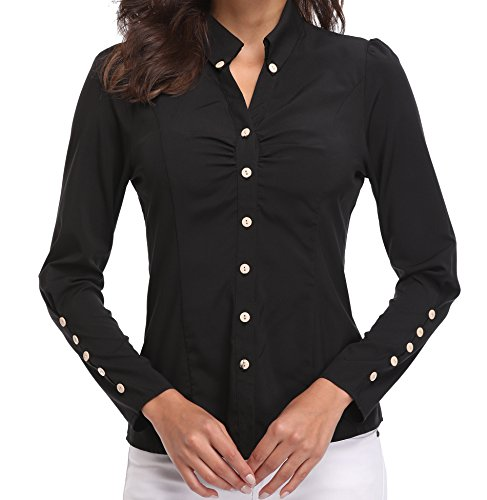 Blusas y Camisas de Mujer Oficina Tops de Moda Negras Manga Larga Casual con Cuello en V de Botónes Básicos Negocio - L