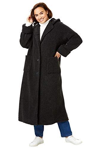 Woman Within Women's Plus Size Long Hooded Berber Fleece Coat - 4X, Black