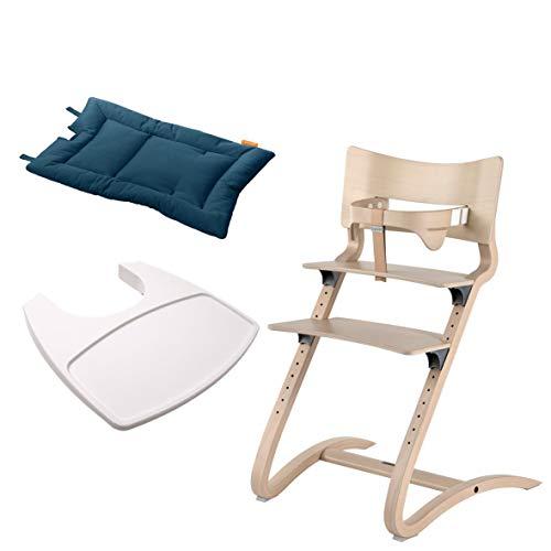 Leander Stuhl white wash - Hochstuhl - Kinderstuhl - Erwachsenenstuhl mit Babybügel + Tablett weiß + Kissen dark blue