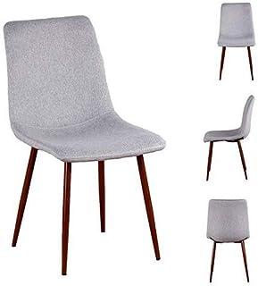 Sim Luxury - Juego de 4 sillas de Comedor y Cocina de Tela con Patas de Metal en Color Madera de Nogal, Color Gris