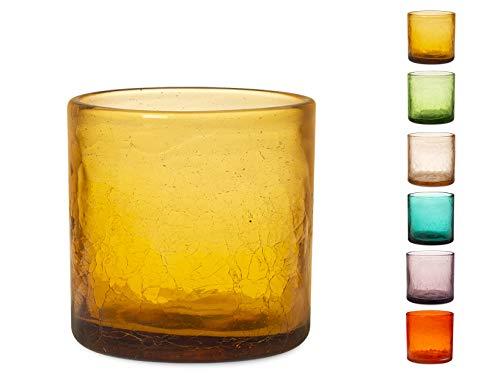 H&H 832321 Cilin Ambra Set 6 Bicchieri, Vetro, Assortiti, cl28